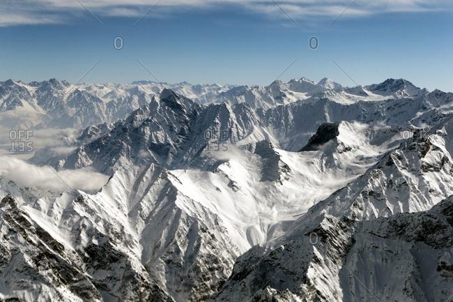 Snow-covered craggy mountain range
