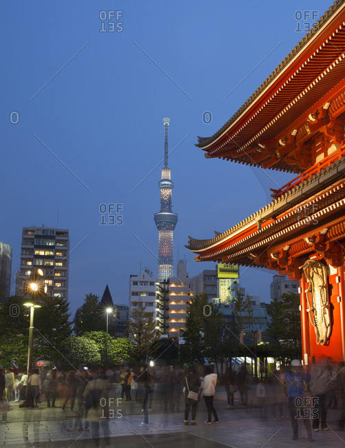 Tokyo, Japan - November 22, 2015: Tokyo Skytree tower and Buddhist temple in the Asakusa district