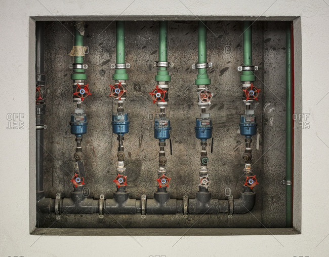 Water meters in wall