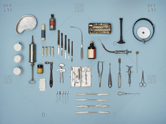 Directly above shot of medical tools on blue background