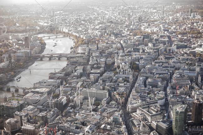 London, England - January 26, 2017: Aerial view of city, London, England, UK