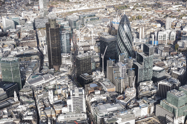 London, England - January 26, 2017: Aerial view of financial district and city, London, England, UK