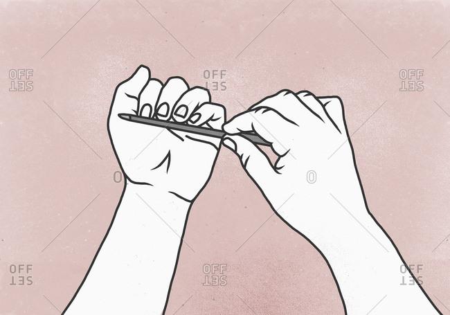 Illustration of woman filing her fingernails against colored background