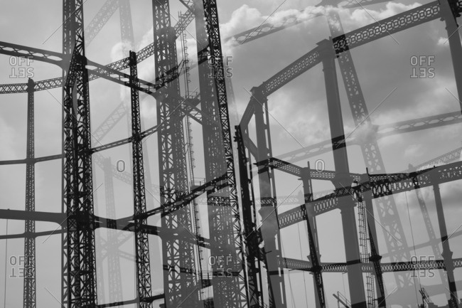 Multi-layered image of Hackney Gasometer, London, England, UK