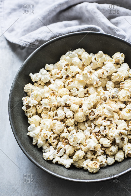 Bowl of popcorn from above