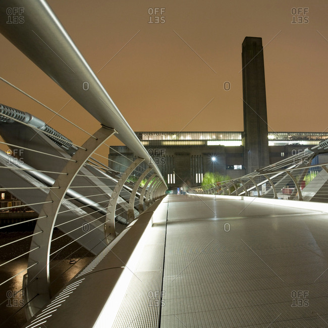 London, England - April 21, 2017: Tate Modern and Millennium Bridge