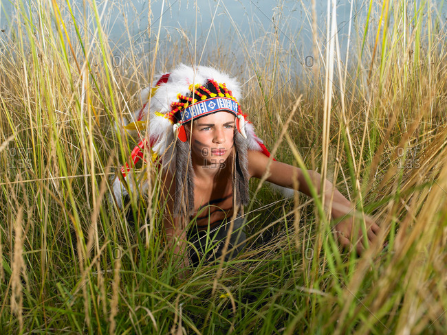 Boy dressed up as north American Indian