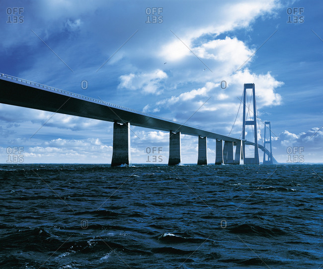 Great Belt Bridge spanning ocean
