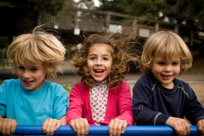 Three children in playground