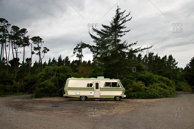 Camper van on secluded road