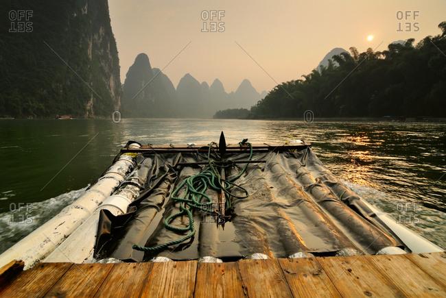 Bamboo boat on Li River, Guilin, China