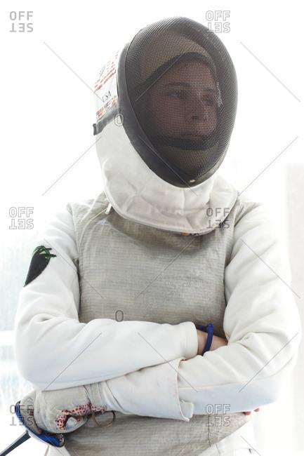 Female fencer in mask
