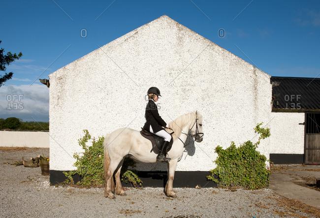 Boy riding horse in paddock
