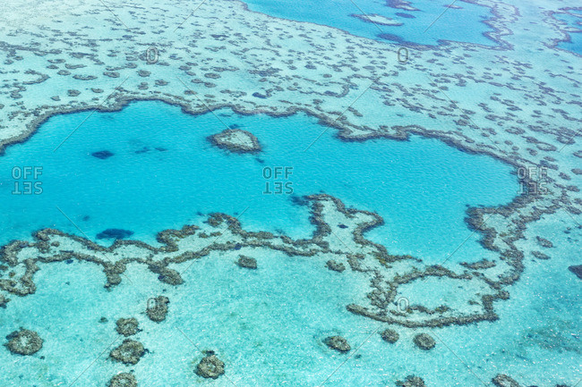 Heart reef in the Great Barrier Reef from above, Queensland, Australia.
