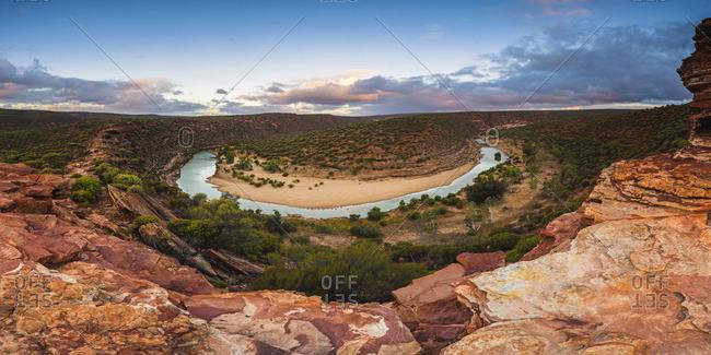 Kalbarri National Park, Kalbarri, Western Australia, Australia. The Loop of the  Murchison River Gorge at Nature's Window.