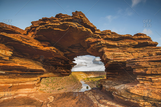 Kalbarri National Park, Kalbarri, Western Australia, Australia. Popular Nature's Window lookout and the Murchison River Gorge.