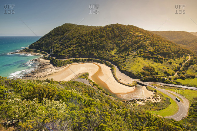 Great Ocean Road, Victoria, Australia. High angle view at sunset.