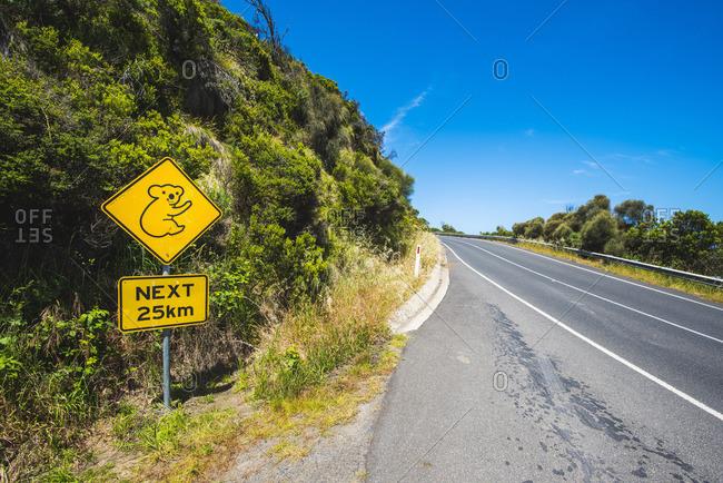 Great Ocean Road, Victoria, Australia. Koala road sign.