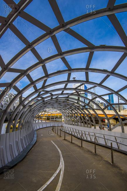 Melbourne, Australia - December 5, 2016: Melbourne, Victoria, Australia. Webb Bridge at Docklands.