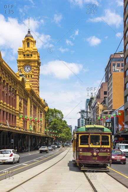 Melbourne, Australia - December 6, 2016: Melbourne, Victoria, Australia. Flinders Street Station and the historical old tram.