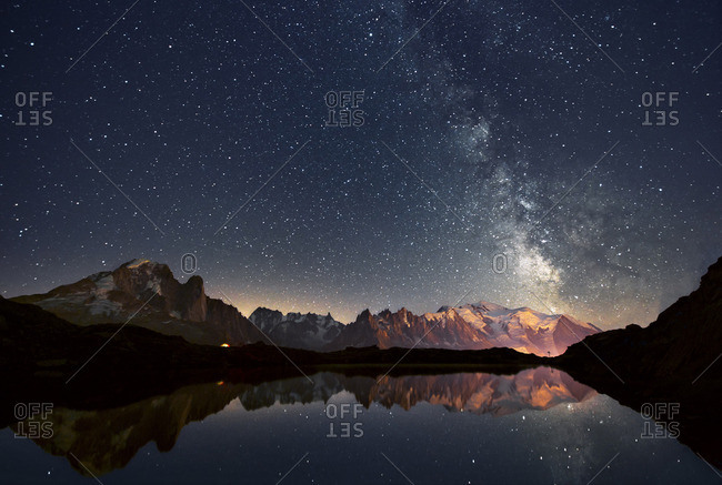 Europe, France, Haute Savoie, Chamonix Mont Blanc - Cheserys lake and the Mont Blanc Massif at a starry Night