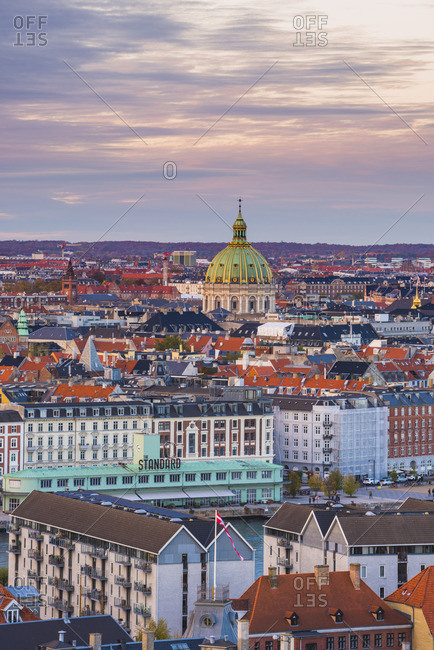 Copenhagen, Denmark, - October 30, 2016: Northern Europe. High angle view over the old town from the Our Savior church at sunset.