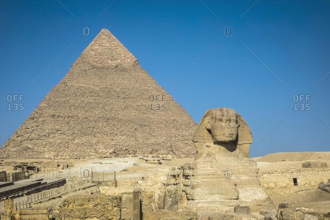 Pyramid of Khafre (Chephren) and the Sphinx, Giza, Cairo, Egypt
