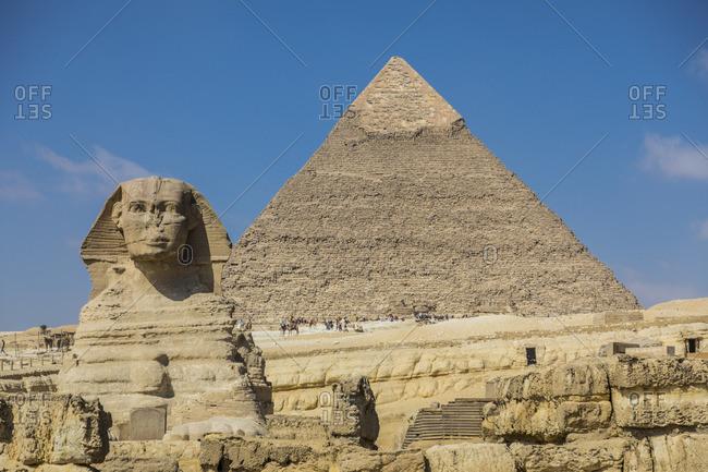 Sphinx and Pyramid of Khafre (Chephren), Pyramids of Giza, Giza, Cairo, Egypt