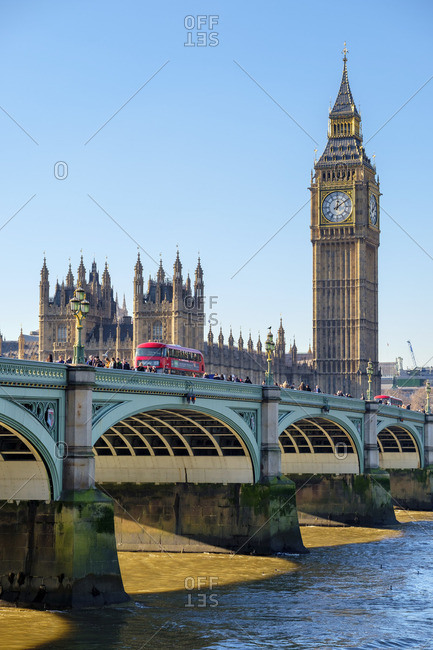 London, England - January 20, 2017: Westminster Bridge on River Thames, in front of Palace of Westminster and the clock tower of Big Ben (Elizabeth Tower)
