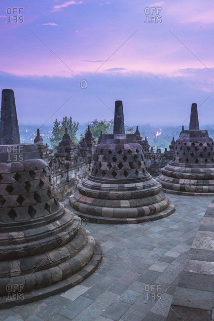 Yogyakarta, Java, Indonesia, South East Asia. Borobudur temple at dusk.
