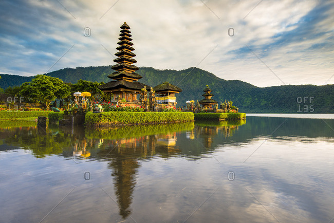 Bali, Indonesia, South East Asia. Pura Ulun Danu Bratan water temple at the edge of Lake Bratan.