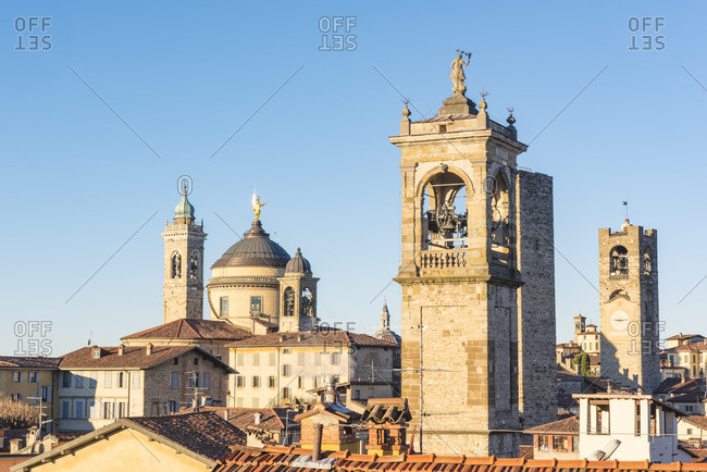 Bergamo, Lombardy, Italy. Bell towers and roofs in Upper Town (Citt� Alta)