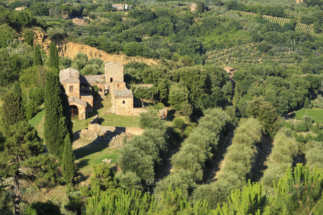 Italy, Tuscany, Siena district, Val di Chiana, Montepulciano, view from ramparts