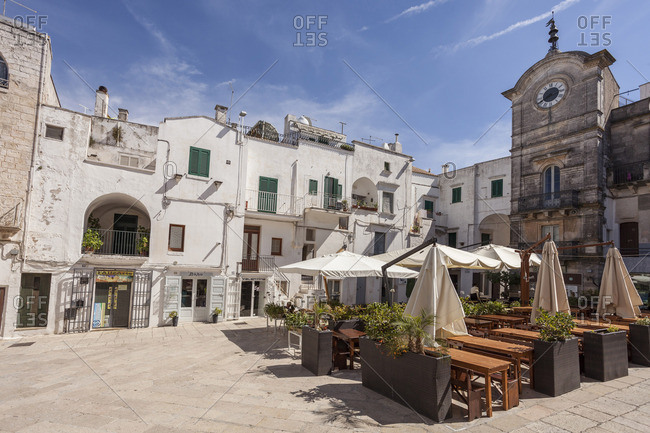 Italy, Apulia - August 26, 2014: Brindisi district, Itria valley, Cisternino. Vittorio Emanuele Square.