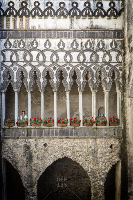 Italy, Amalfi Coast, Ravello, Details of the cloister of Villa Rufolo