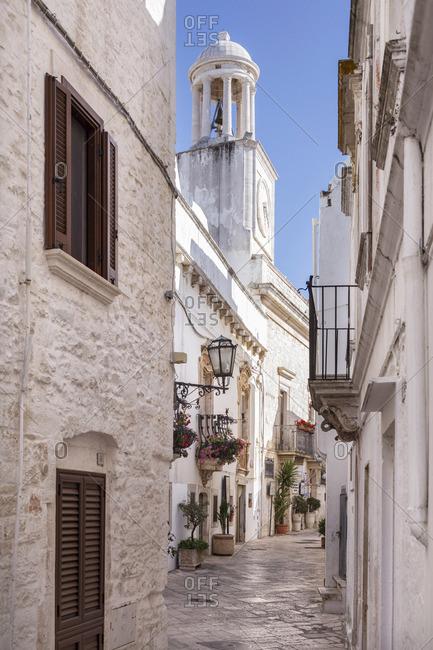 Italy, Apulia - July 26, 2015: Italia, Italy, Apulia, Puglia, Bari district. Locorotondo.