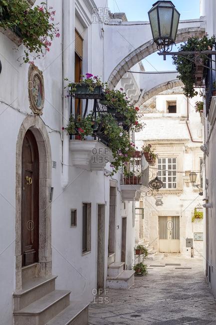 Italy, Apulia - August 26, 2014: Italia, Italy, Apulia, Puglia, Bari district. Locorotondo.