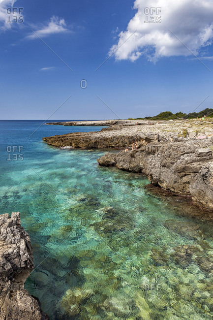Salento, Italy - August 25, 2014: Italia, Italy, Apulia, Puglia. Salento, Salentine Peninsula. Lecce District. Nard�. Porto Selvaggio Nature Reserve.