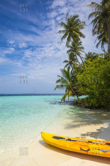 South Male Atoll, Maldives - January 28, 2017: Beach on a tropical island in the South Male Atoll, Maldives