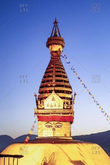 Swayambhunath temple (also known as Monkey temple) at sunset, Kathmandu, Nepal