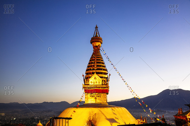 Swayambhunath temple (also known as Monkey temple) at sunset, Kathmandu, Nepal