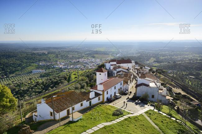 Alentejo, Portugal - December 31, 2016: The medieval walled village of Evoramonte. Alentejo, Portugal