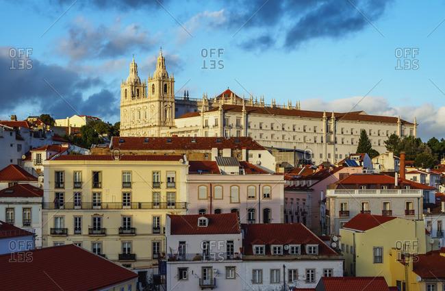 Portugal, Lisbon - November 5, 2016: Miradouro das Portas do Sol, View towards the Monastery of Sao Vicente de Fora.