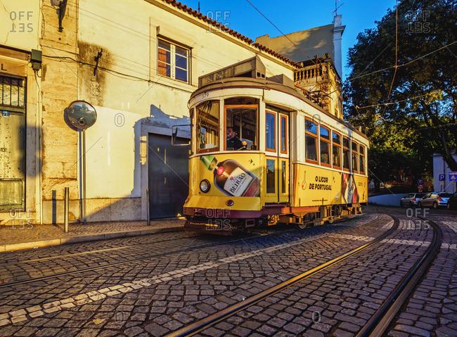 Portugal, Lisbon - November 6, 2016: Typical tram in Alfama.