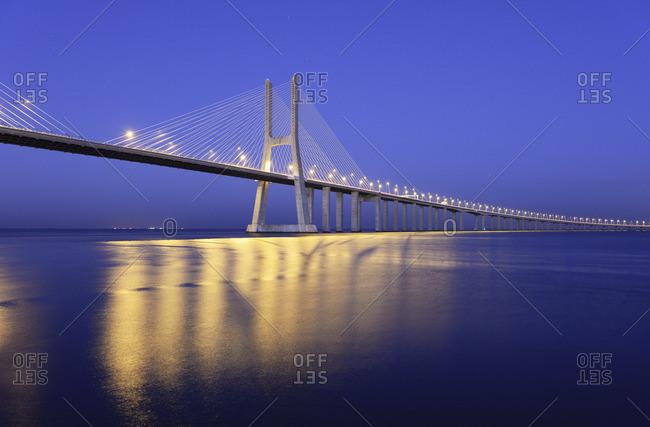Portugal, Lisbon - January 19, 2017: Vasco da Gama Bridge over the Tagus river (Tejo river), the longest bridge in Europe. Lisbon, Portugal