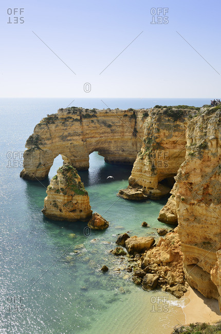 The coastal rock formations at Marinha beach (Praia da Marinha). Algarve, Portugal