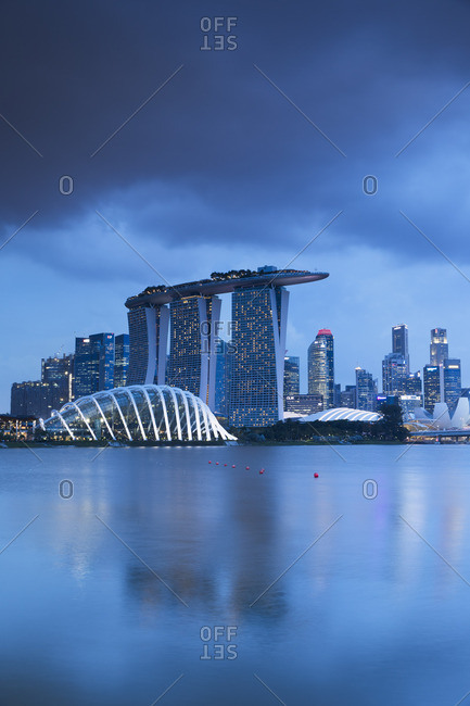 Singapore - February 1, 2017: Marina Bay Sands Hotel and Gardens by the Bay, Singapore