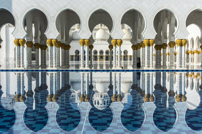 Abu Dhabi, United Arab Emirates - December 21, 2016: Inner courtyard of the Sheikh Zayed Mosque, Abu Dhabi, United Arab Emirates