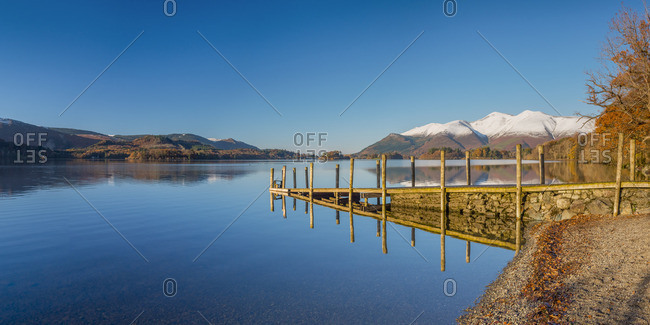 UK, England, Cumbria, Lake District, Keswick, Derwentwater, Ashness Jetty, Skiddaw Mountain in background