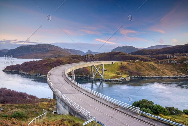 UK, Scotland, Highland, Sutherland, Loch a' Chairn Bhain, Kylesku, Kylesku Bridge, a landmark on the North Coast 500 Tourist Route